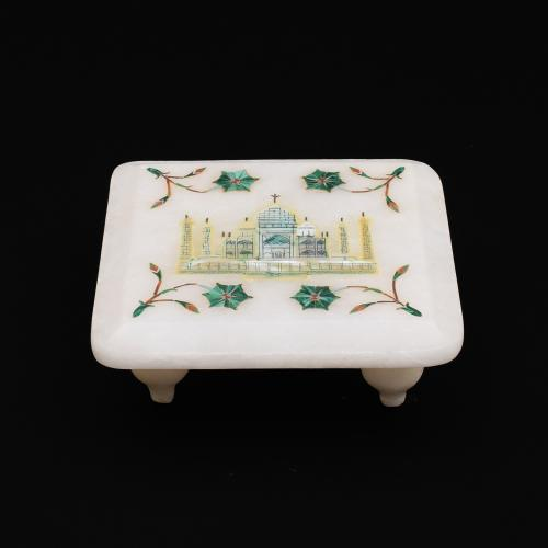 MARBLE CHOWKI WITH  INLAY  TAJMAHAL STONE WORK