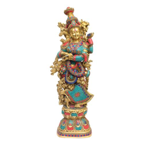BRASS RADHA IDOL STANDING WITH STONE WORK