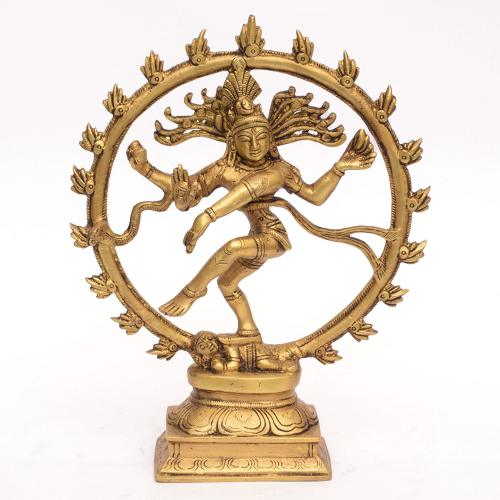 BRASS NATRAJ IDOL WITH ROUND SHAPE ARCH