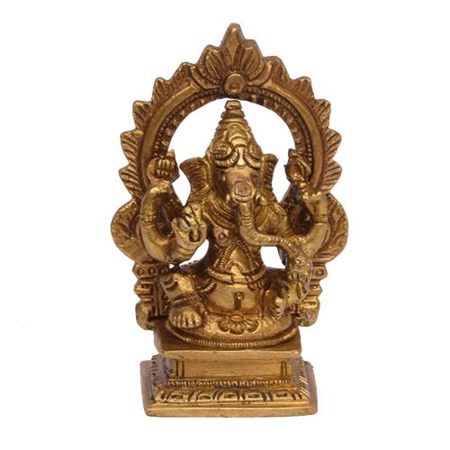 BRASS GANESHA IDOL SITTING