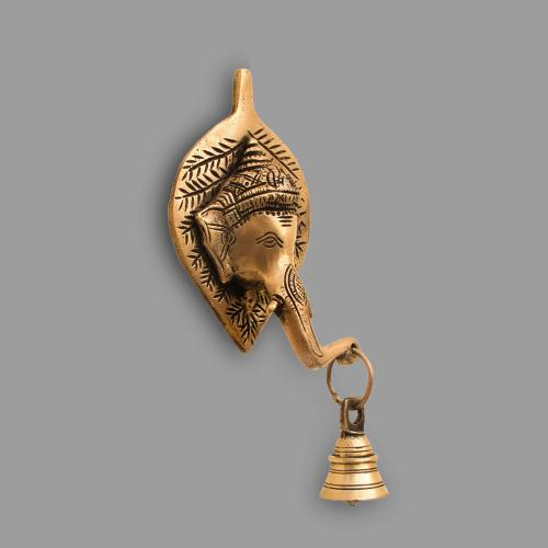 BRASS GANESHA WALL HANGING WITH BELL