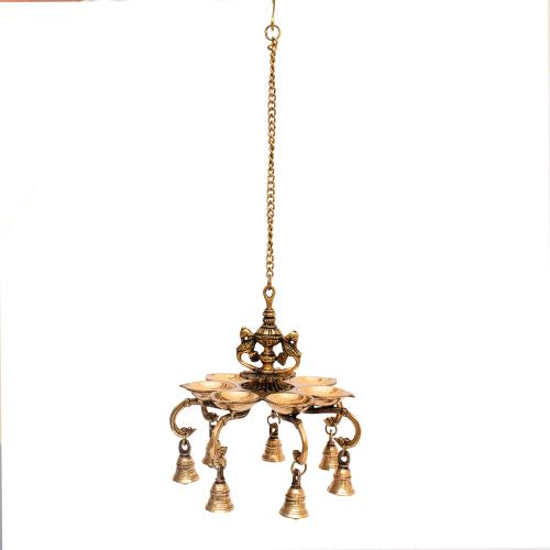 BRASS PARROT DIYA WALL HANGING WITH BELL