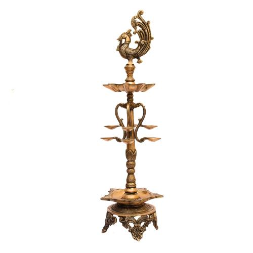 BRASS PEACOCK OIL LAMP