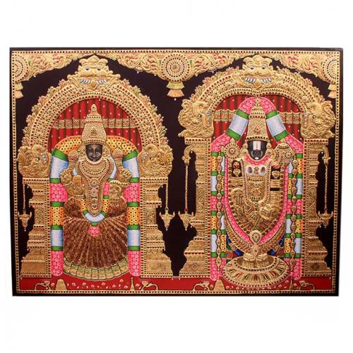 22ct Gold Handmade Lord Balaji With Padmavathy Tanjore Painting