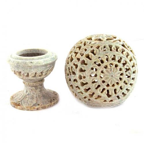 BALL CARVED ON STAND