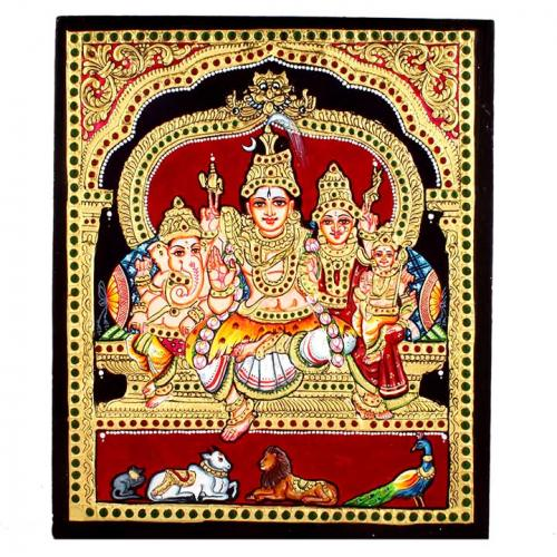 22ct Gold Handmade Lord Shiva Parvathi Family Tanjore Painting