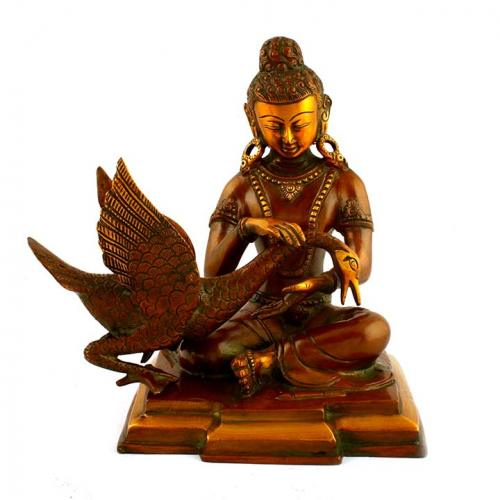 BUDDHA SITTING ON SWAN ON BASE