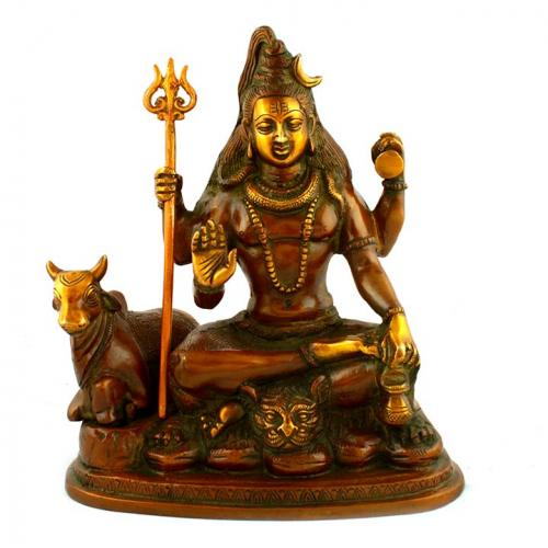 SHIVA SITTING WITH 4 ARMS WITH NANDHI