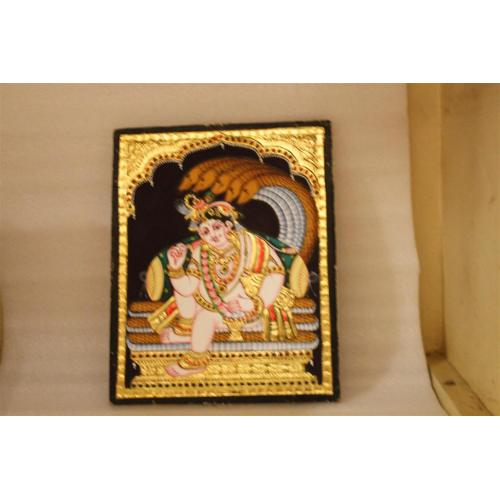 22ct Gold Lord Balakrishna in Naga Mantap Tanjore Painting