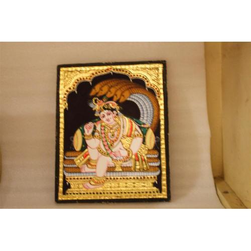 22ct Gold Lord Balakrishna in Naga Mantap Tanjore Painting