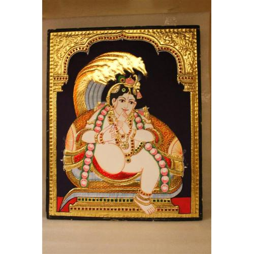 Gold Plated Handmade Lord krishna Naga Tanjore painting