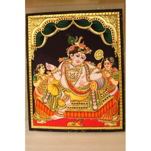 Gold Plated Handmade Lord krishna sitting Tanjore painting