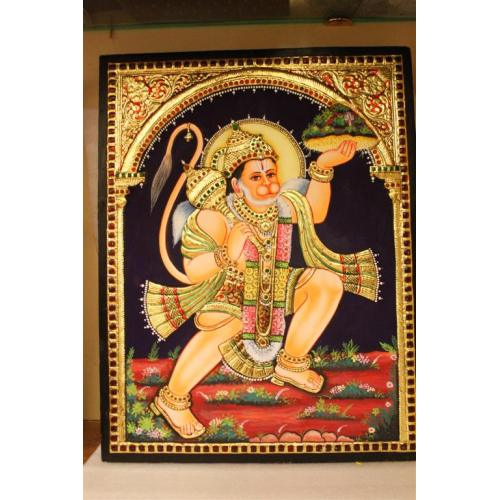 22ct Gold Handmade Lord Hanuman With Sanjeevani Tanjore Painting