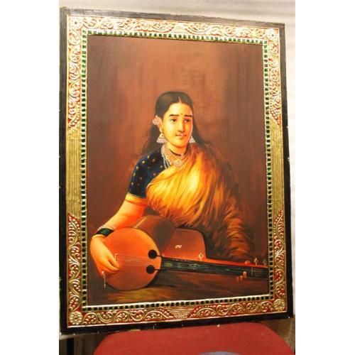 22ct Gold Raja Ravivarma Women With Sitar Tanjore Painting
