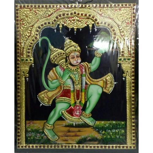 22ct Gold Lord Hanuman With Sanjeevani Tanjore Painting