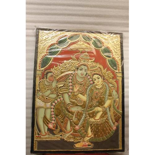 22ct Gold Handmade Lord Rama Kothandarama Tanjore Painting