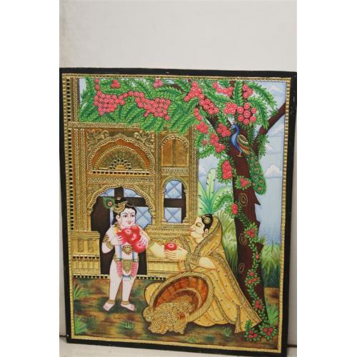 22ct Gold Handmade Lord Balakrishna Tanjore Painting