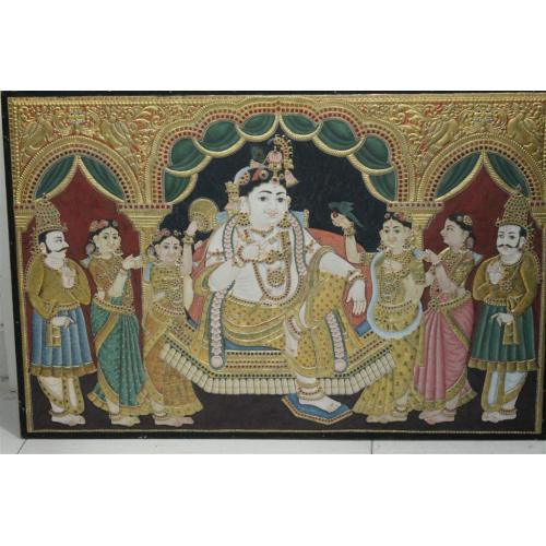 22ct Gold Handmade Lord Krishna in Mantap Tanjore Painting