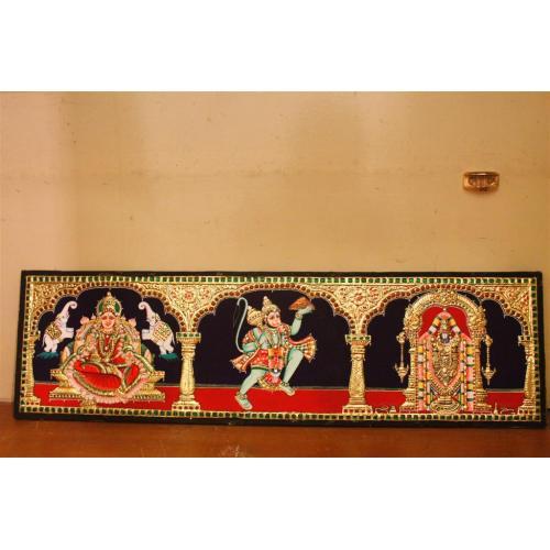 22ct Gold Lakshmi, Hanuman, Balaji 3 in 1 Tanjore Painting