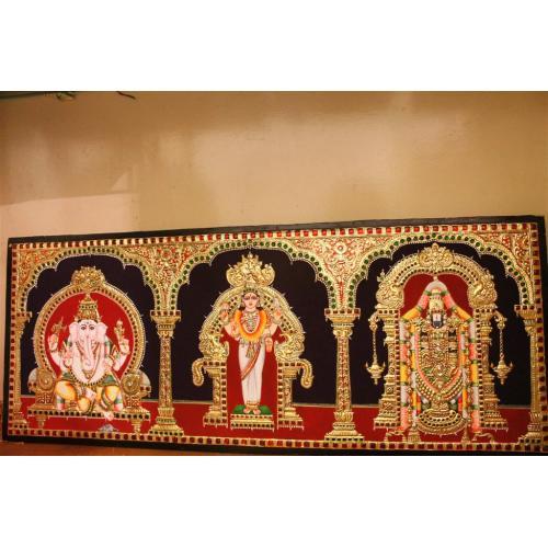 22ct Gold Ganesh, Kannika, Balaji 3 in 1 Tanjore Painting