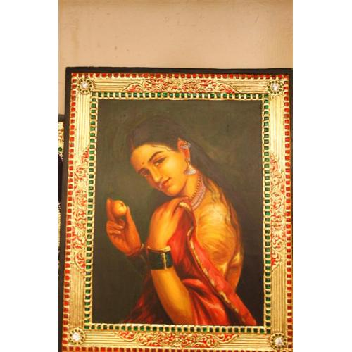 22ct Gold Raja Ravivarma Woman With Fruit Tanjore Painting