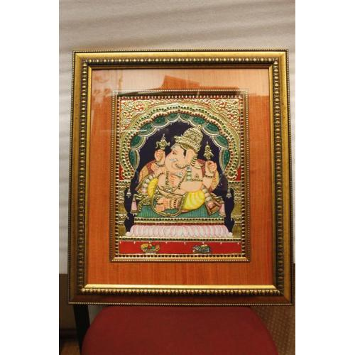 22ct Gold Handmade Lord Ganesha Relaxing Tanjore Painting