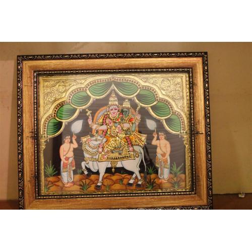 22ct Gold Handmade Lord Shiva Pradasivamoorthy Tanjore Painting