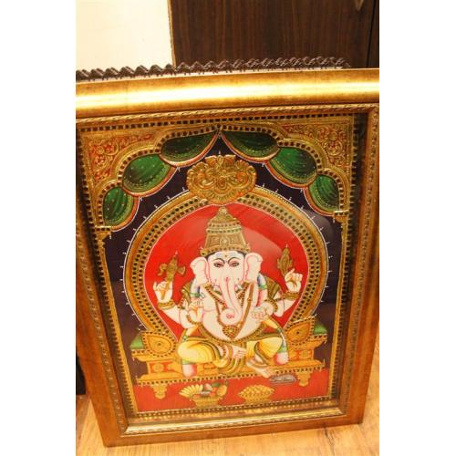 22ct Gold Handmade Lord Ganesha Sitting Tanjore Painting