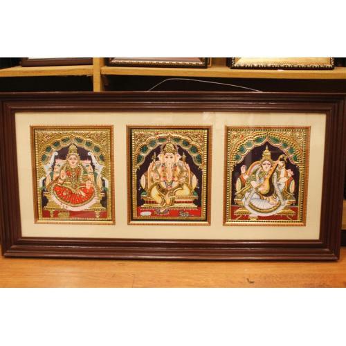 22ct Gold Lakshmi, Ganesh, Saraswathi 3 in 1 Tanjore Painting