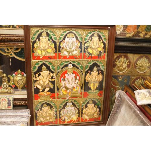 22ct Gold Lord Ganesha ashta/eight Images Tanjore Painting