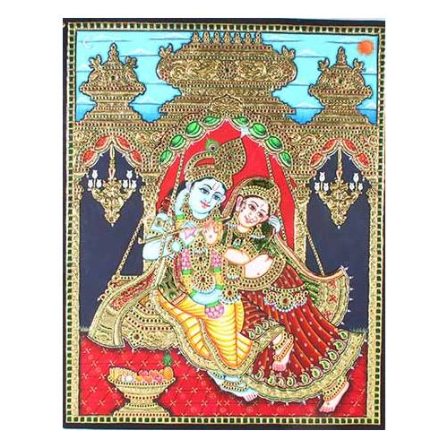 22ct Gold Handmade Lord Radha Krishna Swing Tanjore Painting
