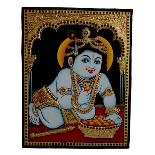 22ct Gold Handmade Lord Krishna Eating Laddu Tanjore Painting