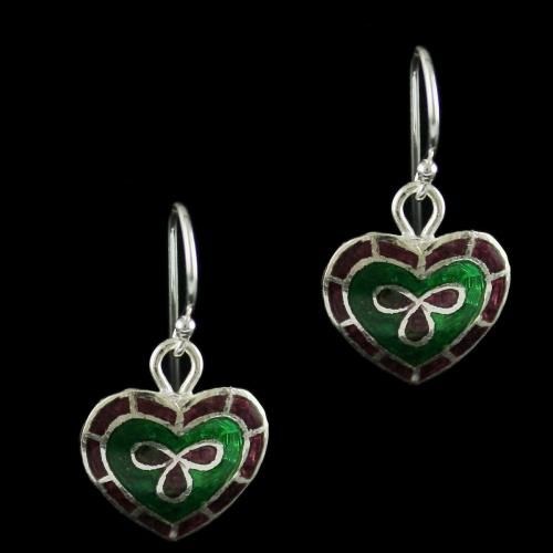 92.5 Silver Meena And Fancy Floral Hanging Earrings