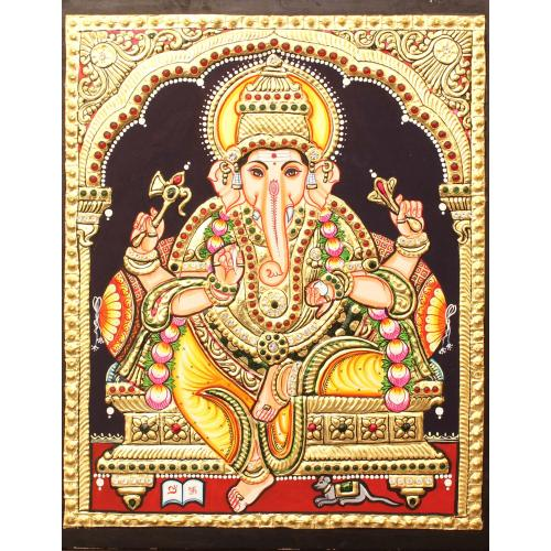TANJORE PANITING YELLOW DHOTHI GANESHA