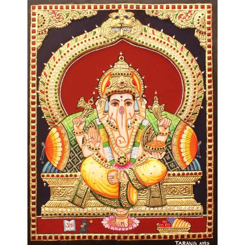 TANJORE PAINTING MANTAP YELLOW DHOTI